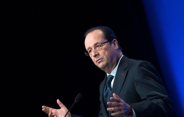 François Hollande livre un discours devant des représentants de la communauté juive, le 2 juin 2013 à Paris [Bertrand Langlois / AFP]