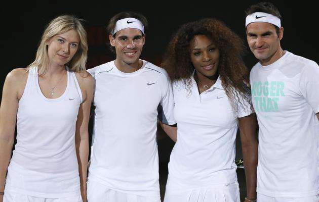 Maria Sharapova, Rafael Nadal, Serena Williams et Roger Federer le 23 mai 2013 à Malakoff [Kenzo Tribouillard / AFP/Archives]