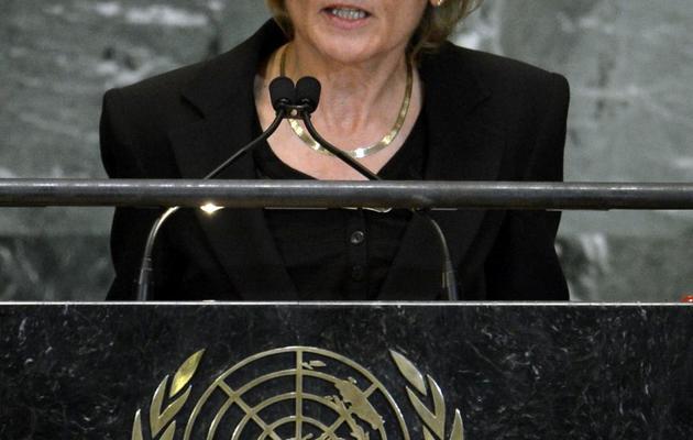 La ministre suisse des finances, Eveline Widmer Schlumpf, à l'ONU le 25 septembre 2012 [Timothy A. Clary / AFP/Archives]