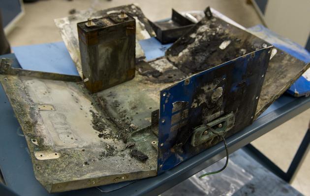 La batterie qui a pris feu du Boeing 787 Dreamliner de la Japan Airline à l'aéroport de Boston, le 24 janvier 2013 [Saul Loeb / AFP/Archives]