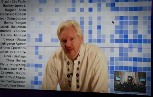 Julian Assange prend la parole lors d'une téléconférence entre Londres et Washington, le 8 avril 2013 [Mladen Antonov / AFP/Archives]