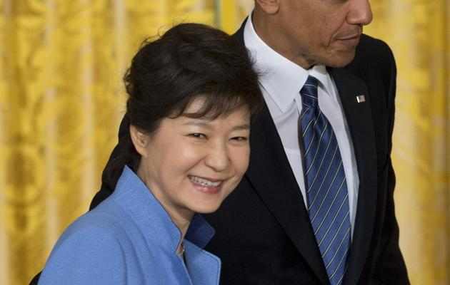 La présidente de Corée du Sud, Park Geun-hye reçue à la Maison Blanche par Barack Obama, le 7 mai 2013 à Washington [Saul Loeb / AFP/Archives]