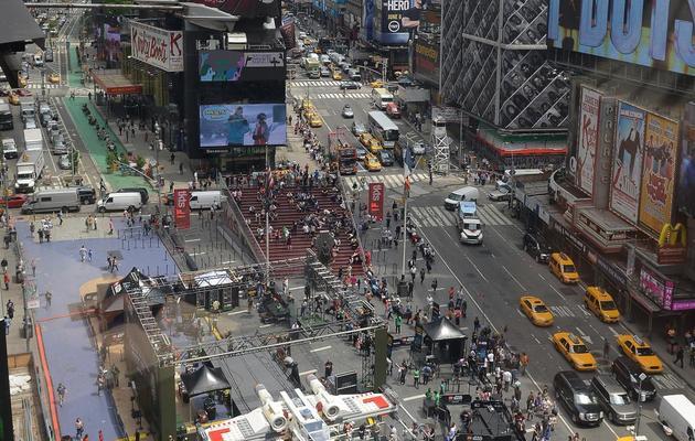 La plus grande réalisation en Lego du monde à Times Square le 23 mai 2013 [Emmanuel Dunand / AFP]