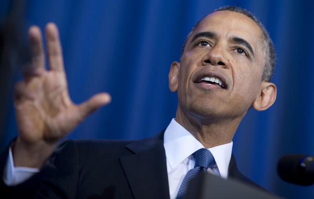 Le président Barack Obama le 23 mai 2013 lors de son discours sur sa stratégie sur l'utilisation des drones et sa politique pour lutter contre le terrorisme [Saul Loeb / AFP]