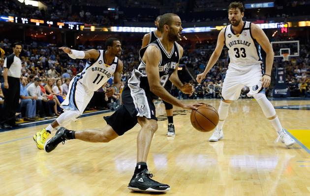 Tony Parker lors de la finale de la conférence ouest de la NBA contre Memphis le 27 mai 2013 [Kevin C. Cox / Getty Images/AFP]