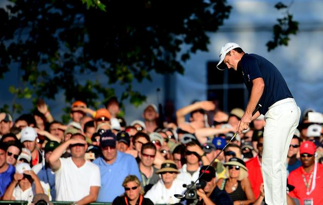 Le Britannique Justin Rose au 18e trou lors de l'US Open de golf à Ardmore, en Pennsylvanie [David Cannon / AFP/Getty Images]