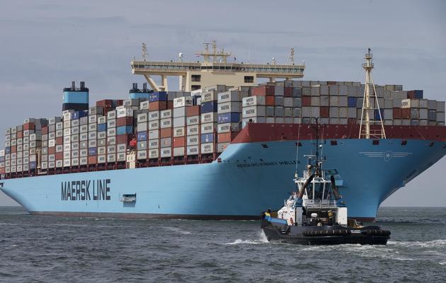Un porte-conteneurs arrive au port de Rotterdam, le 16 août 2013 [Jerry Lampen / ANP/AFP/Archives]