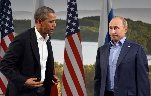 Barack Obama et Vladimir Poutine le 17 juin 2013 au sommet de Lough Erne en Irlande du Nord  [Jewel Samad / AFP]