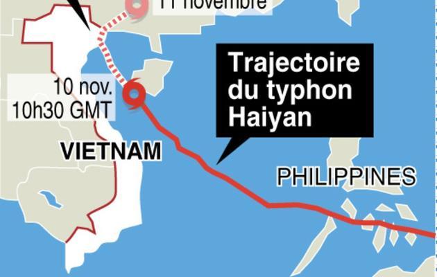 Infographie localisant la trajectoire du typhon  [ / AFP]