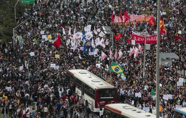 Manifestation d'étudiants à Sao Paulo au Brésil, le 17 juin 2013 [Miguel Schincariol / AFP]