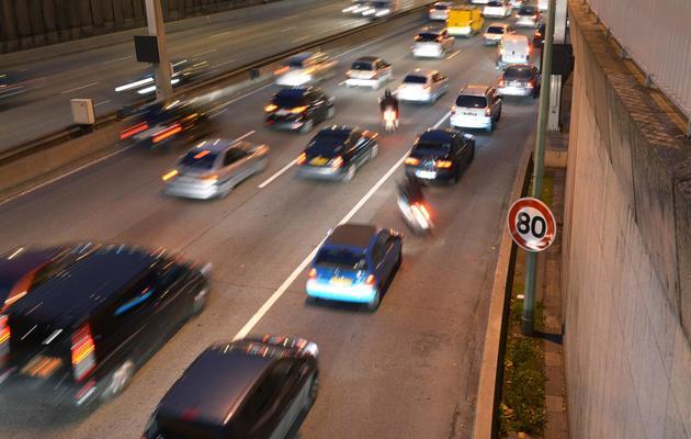 Vitesse limitée à 80km/h le 12 novembre 2012 sur le périphérique à Paris [Martin Bureau / AFP/Archives]