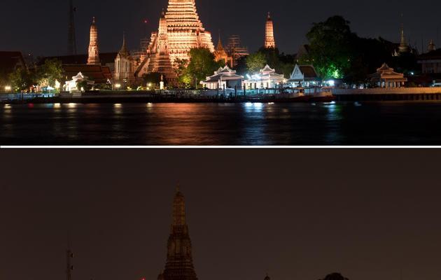 """Juxtaposition de photos du temple bouddhiste Wat Arun Ratchawararam Ratchawaramahawihan avant et après extinction des feux, lors de l'opération """"Une heure pour la planète"""", à Bangkok le 29 mars 2014 [Pornchai Kittiwongsakul / AFP]"""