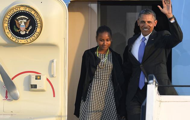 Barack Obama et sa fille Sasha le 18 juin 2013 à leur arrivée à Berlin [Odd Andersen  / AFP Photo]
