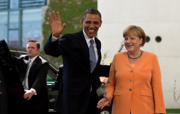 Barack Obama accueilli à la chancellerie par Angela Merkel le 19 juin 2013 à Berlin [Johannes Eisele  / /AFP]