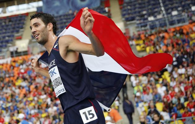Mahiedine Mekhissi après sa médaille de bronze sur le 3000 m steeple des Mondiaux le 15 août 2013 à Moscou [OLIVIER MORIN / AFP Photo]