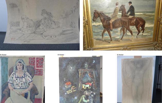 Assemblage de photos d'oeuvres d'Eugène Delacroix, Max Liebermann, Henri Matisse, Marc Chagall et Auguste Rodin, retrouvées à Munich [Melder / Lostart.de/Staatsanwaltschaft Au/AFP/Archives]