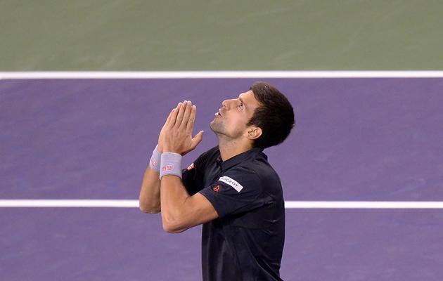 Le Serbe Novak Djokovic après sa victoire contre le Croate Marin Cilic à Indian Wells le 12 mars 2014 [Joe Klamar / AFP]