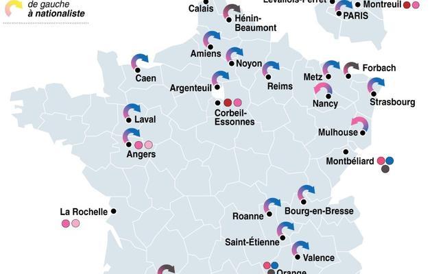 Graphique des points chauds pour les élections municipales [L. Saubadu/P. Pizarro/P.Defosseux / AFP]