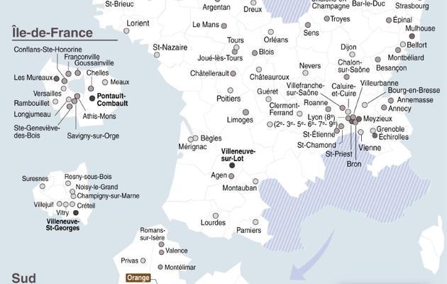 Carte de France localisant le vote FN au 1er tour des élections municipales  [L. Saubadu/P. Defosseux / AFP]