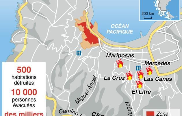 Localisation des principaux foyers d'incendie à Valparaiso [-, S. Ramis/C. Mutto / AFP]