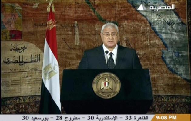 Capture d'écran du président par intérim Adly Mansour lors de son discours, le 18 juillet 2013  [- / Egyptian TV/AFP]