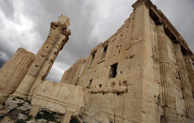 Les combats ont causé des dégâts visibles le 14 mars 2014 sur les ruines de l'ancienne Palmyre, à 215 km au nord-est de Damas [Joseph Eid / AFP]