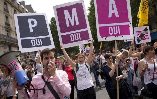 Des participants à la Gay Pride, le 29 juin 2013 à Paris [Lionel Bonaventure / AFP]