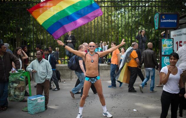 Un participant à la gay pride parisienne agite un drapeau arc en ciel le 29 juin 2013 à Paris  [Martin Bureau / AFP]