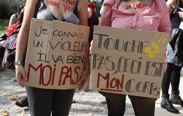 """Des militantes participent à la """"Marche des salopes"""" à Paris le 28 septembre 2013 [Thomas Samson / AFP]"""
