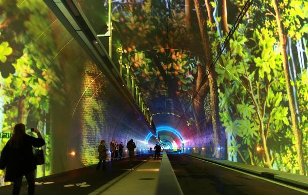 Des passants visitent le nouveau tunnel à Lyon, le 5 décembre 2013 [Philippe Merle / AFP]