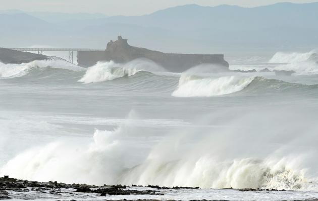 Des vagues sur le littoral de Biarritz le 22 décembre 2013 [Gaizka Iroz / AFP]