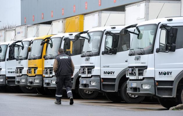 Des camions de l'entreprise Mory-Ducros à Saint-Laurent-Blangy le 15 janvier 2014 [Philippe Huguen / AFP/Archives]