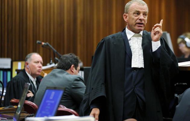 Le procureur Gerrie Nel, au procès d'Oscar Pistorius, à Pretoria, le 7 avril 2014 [Themba Hadebe / POOL/AFP]