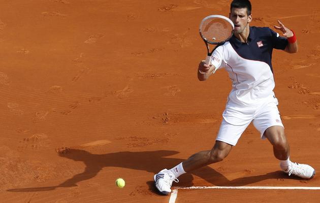 Le Serbe Novak Djokovic au 2e tour de l'Open de Monte-Carlo le 15 avril 2014 à Monaco  [ / AFP]