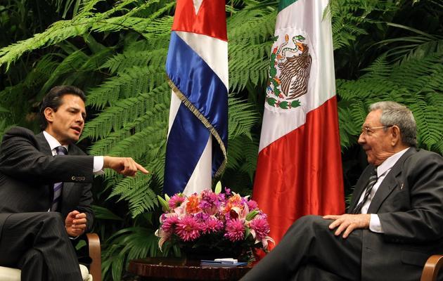 Le président cubain Raul Castro (d) et son homologue mexicain Enrige Pena Nieto, le 29 janvier 2014 lors du sommet de la Celac à La Havane [Alejandro Ernesto / Pool/AFP]