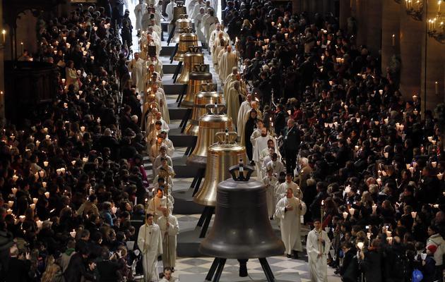 Bénédiction de neuf nouvelles cloches à Notre-Dame de Paris, le 2 février 2013 [Kenzo Tribouillard / AFP]