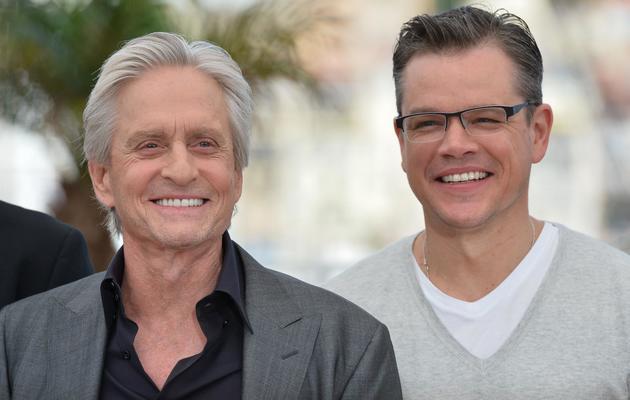 """Michael Douglas (g) et Matt Damon présentent, le 21 mai 2013, """"Ma vie avec Liberace"""" au Festival de Cannes [Alberto Pizzoli / AFP]"""