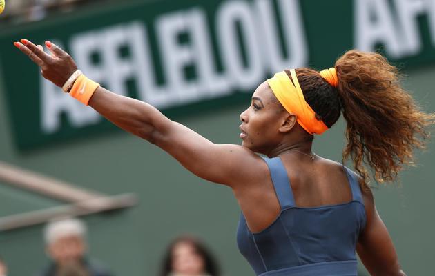 L'Américaine Serena Williams lors de son match contre la Géorgienne Anna Tatishvili, le 26 mai à Roland-Garros [Patrick Kovarik / AFP]