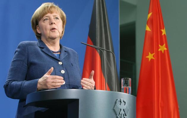 Angela Merkel donne une conférence de presse avec le Premier ministre chinois Li Keqiang, le 26 mai 2013 à Berlin [Adam Berry / AFP]