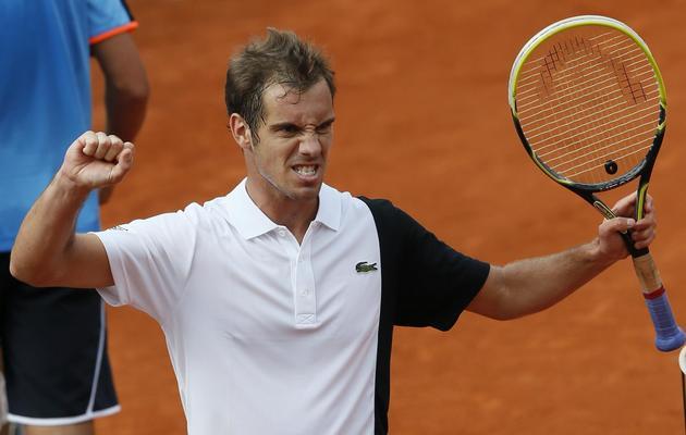 Le Français Richard Gasquet après sa victoire au 1er tour de Roland-Garros contre l'Ukrainien Sergiy Stakhovsky, le 27 mai 2013, à Paris [Patrick Kovarik / AFP]