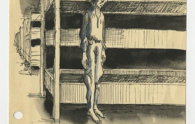 Photo fournie par le musée d'Auschwitz-Birkenau montrant une illustration réalisée par un ancien détenu polonais [ / www.auschwitz.org/AFP]