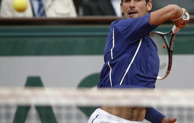 Novak Djokovic lors du match l'opposant à Guido Pella  le 30 mai 2013 à Roland Garros à Paris [Martin Bureau / AFP]