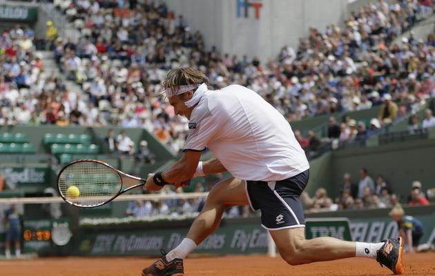 L'Espagnol David Ferrer lors d'un match contre Anderson à Roland-Garros le 2 juin 2013 [Kenzo Tribouillard / AFP]