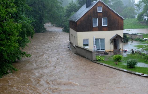 La rivière Wuerschnitz sort de son lit le 2 juin 2013 près de Chemnitz, dans le sud de l'Allemagne [Hendrik Schmidt / AFP]