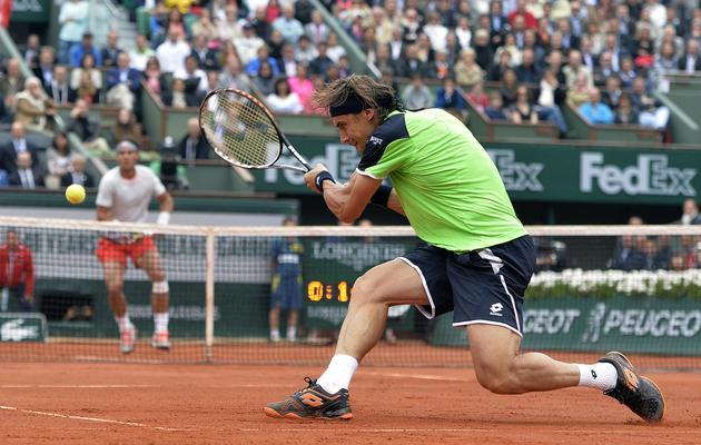 L'Espagnol David Ferrer lors de la finale de Roland-Garros contre Rafael Nadal, le 9 juin 2013 [Miguel Medina / AFP]