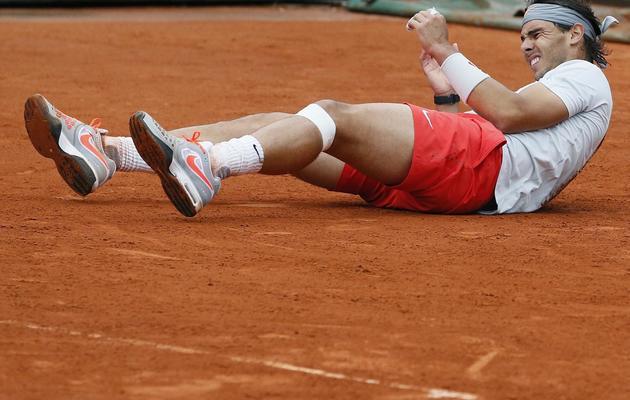L'Espagnol Rafael Nadal après sa victoire contre David Ferrer en finale de Roland Garros le 9 juin 2013 à Paris [Patrick Kovarik / AFP]