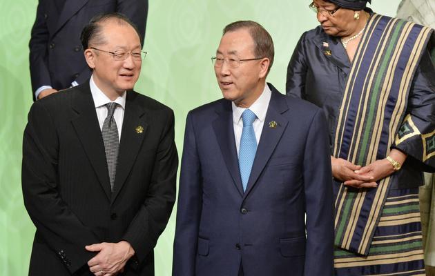 Le secrétaire général de l'ONU, Ban Ki-moon (D), et le président de la Banque mondiale, Jim Yong Kim, le 1er juin 2013 à Tokyo [Kazuhiro Nogi / Pool/AFP]