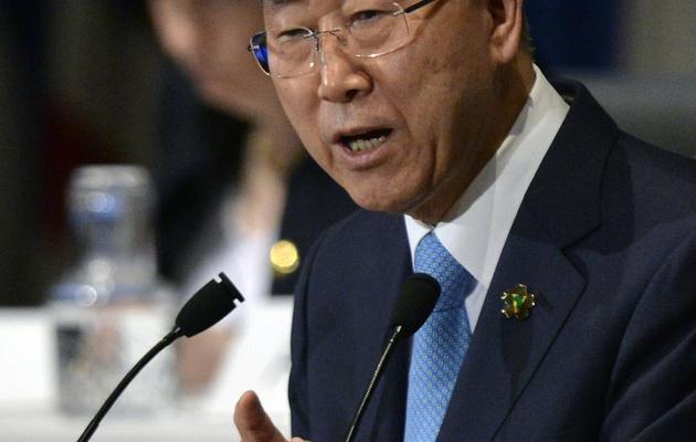 Le secrétaire général de l'ONU, Ban Ki-moon, à Tokyo le 1er juin 2013 [Franck Robichon / Pool/AFP]