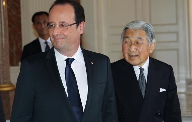 Le président français François Hollande et l'empereur japonais Akihito, le 8 juin 2013 à Tokyo [Koichi Kamoshida / Pool/AFP]