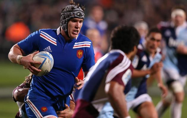 Le 3e ligne Bernard Le Roux lors d'un match avec le quinze de France contre la province des Auckland Blues le 11 juin 2013 en Nouvelle-Zélande [Michael Bradley / AFP]